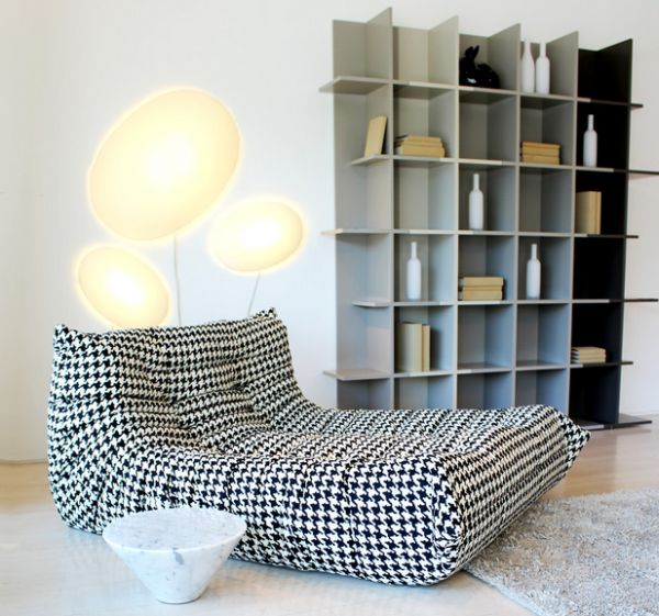 Togo lounge in interesting print for an eclectic living space
