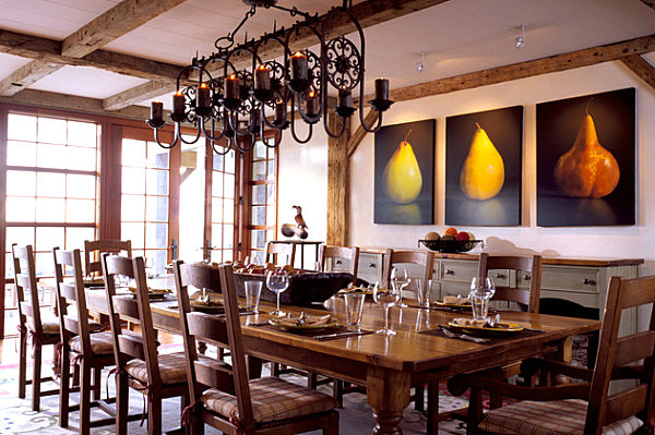 Traditional dining room with fruit art