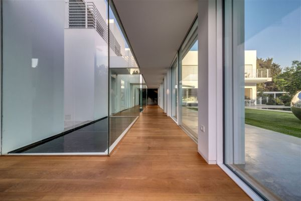 Transparent corridor leads to private quarters for kids