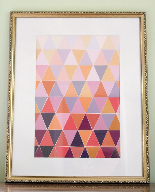 Triangular paint chip wall art