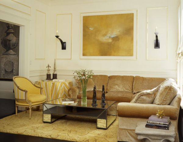 Trim detail in gold brings refinement to the space