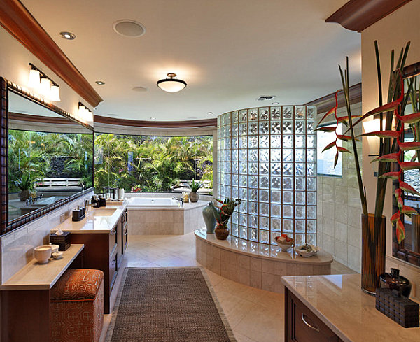 View In Gallery Tropical Bathroom With Glass Block