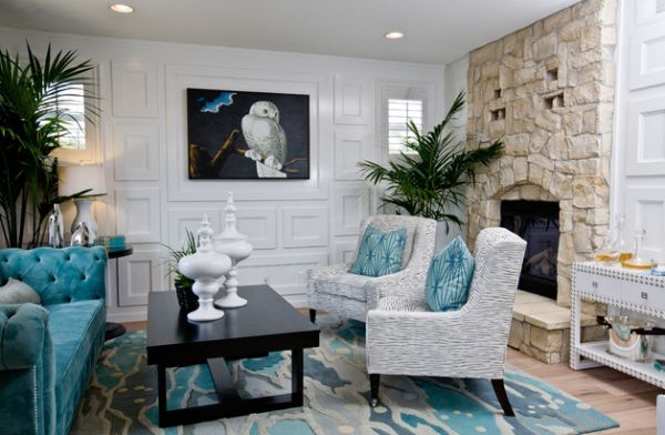 Turquoise and white lend a relaxed Mediterranean aura to your interiors