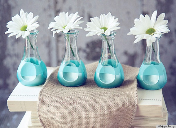 Turquoise paint dipped glass vase