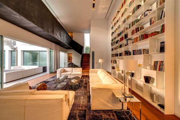 Two floor high living room offers plenty of space