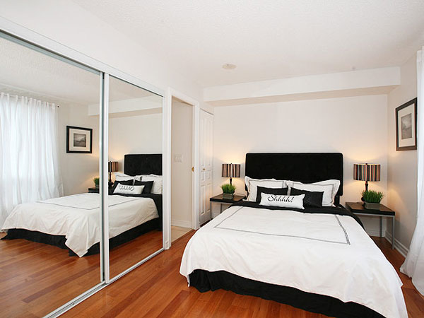 view in gallery use mirrors to create more visual space - Simple Small Bedroom Designs