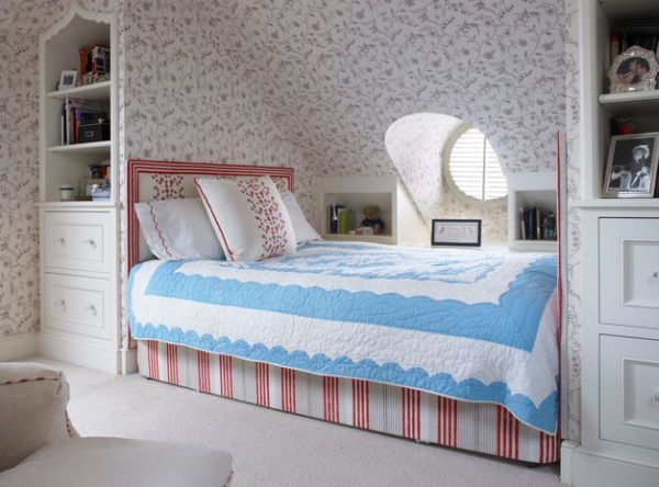 Use wallpaper even for the sloped attic roof to create visual uniformity