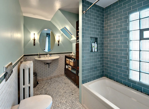 Vintage and modern details mix in a bathroom with glass block