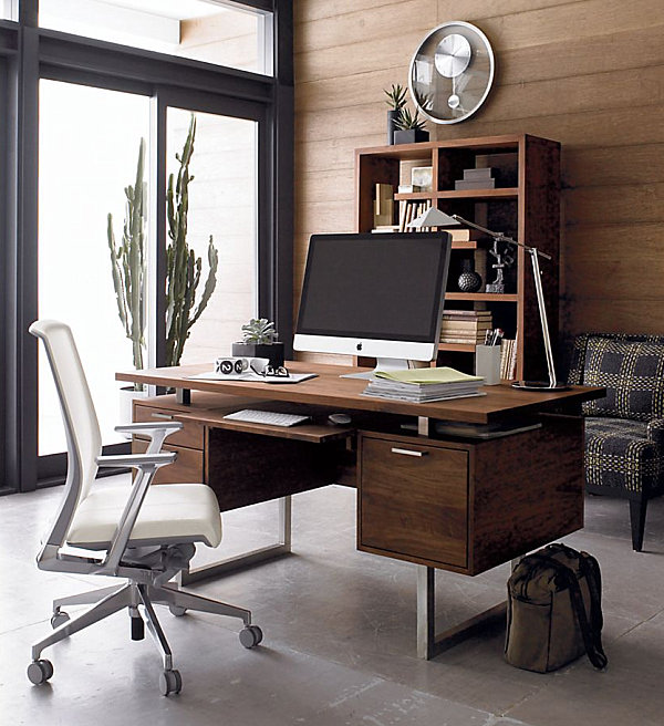 Walnut desk with keyboard or laptop storage