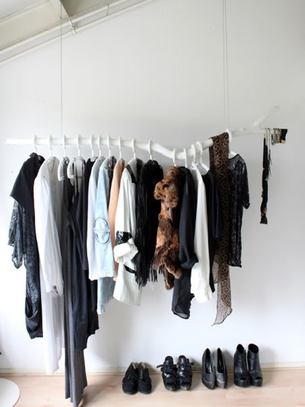 White branch clothing rack