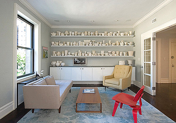 White ceramics in a modern living room How to Display a Collection with Flair