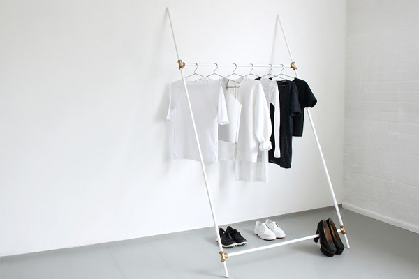White plumbing tube clothing rack