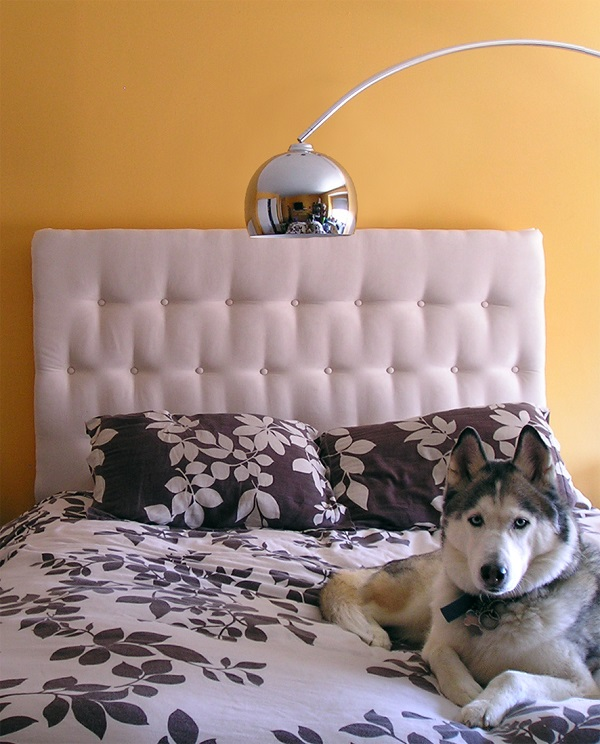White tufted headboard DIY Tufted and Studded: Upholstery Details for Elevated Design