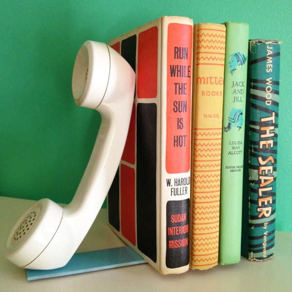 White vintage phone bookend
