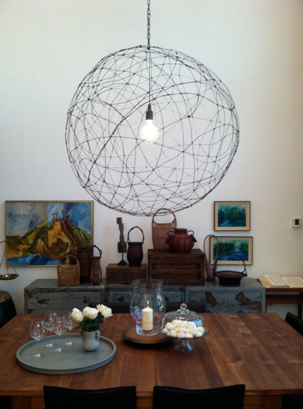 Wire hanging lamp DIY