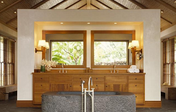 Wooden accents in a tropical bathroom