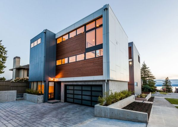 Wooden cladding provides privacy when needed