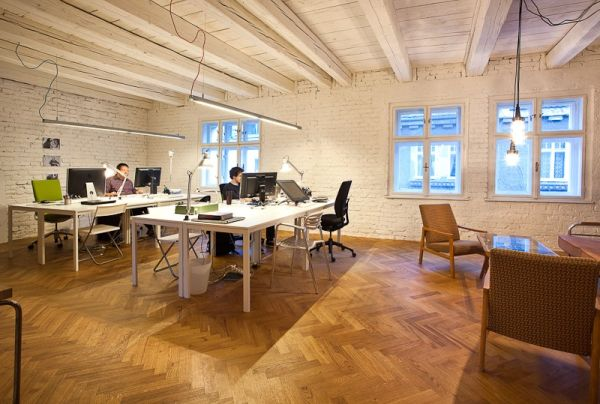 Wooden flooring adds inviting warmth to the office!
