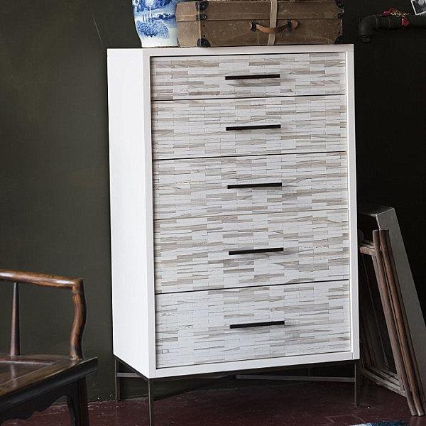 Wooden tiles on a modern dresser