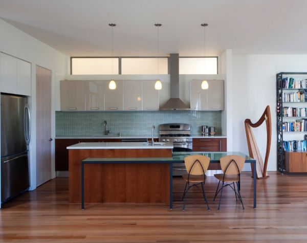 Wooden tones of the harp seem to fit in seamlessly with the rest of the kitchen