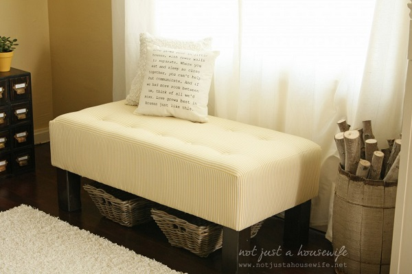 Yellow striped upholstered bench