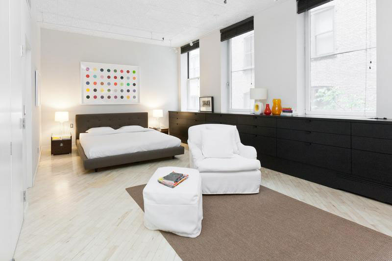 black and white bedroom in soho