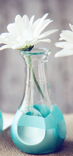 blue diy vases