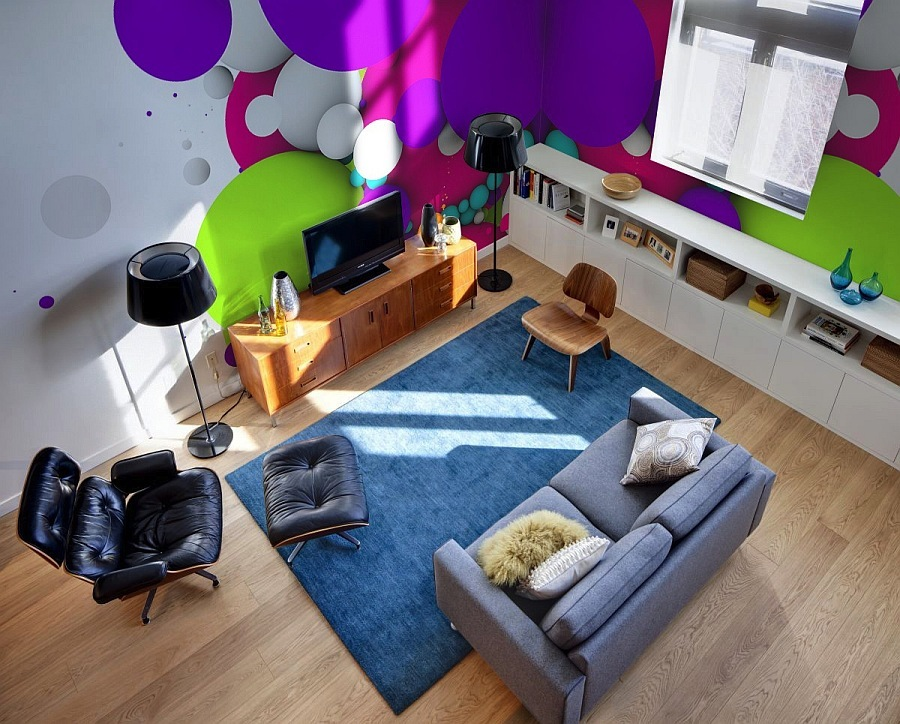 colorful living room wall decal