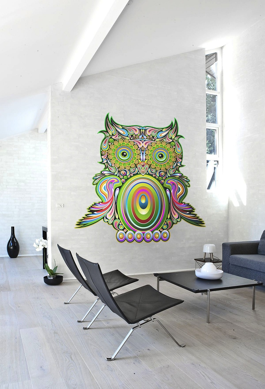 colorful owl wall decal
