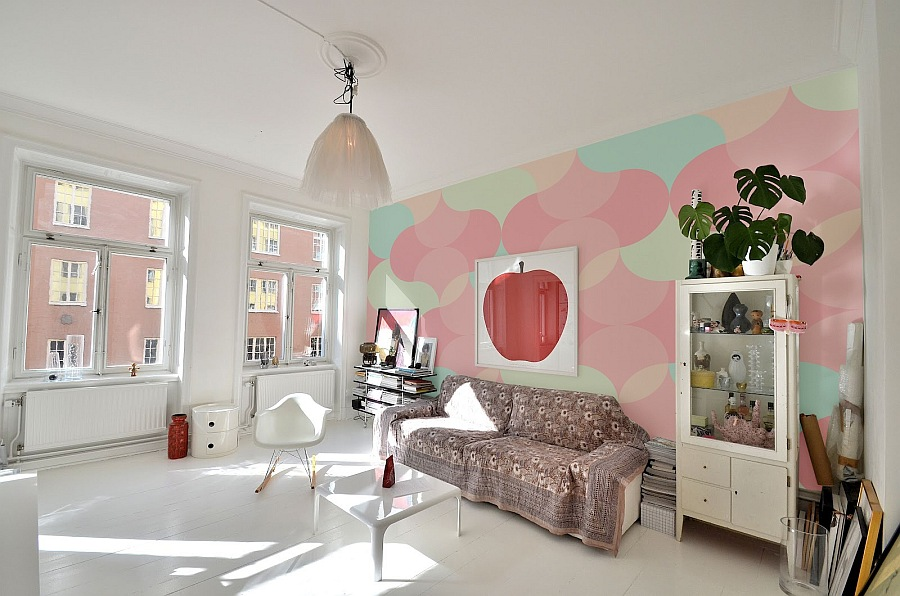 girlish wall mural in pink