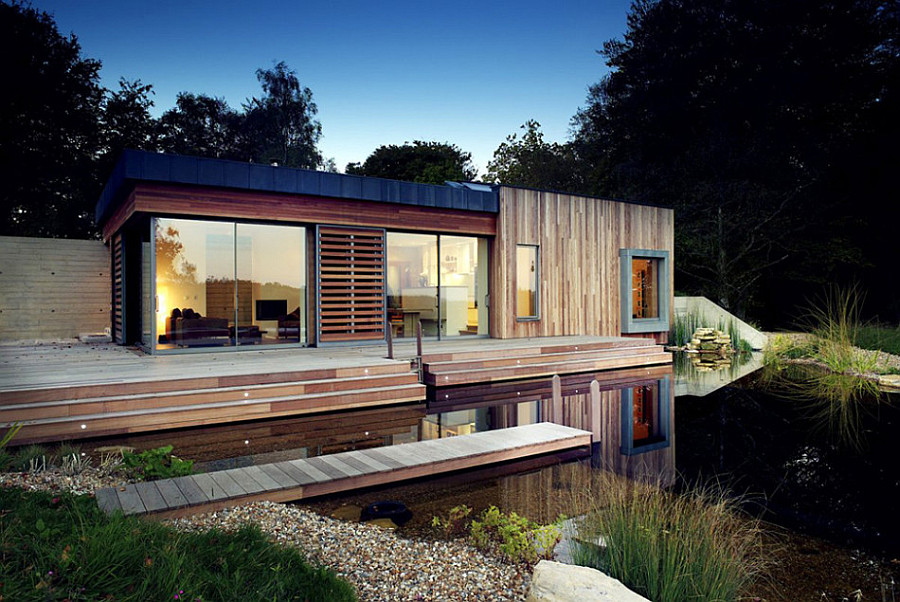 house on the lake Tranquil Forest House With a Sustainable Modern Design in the UK