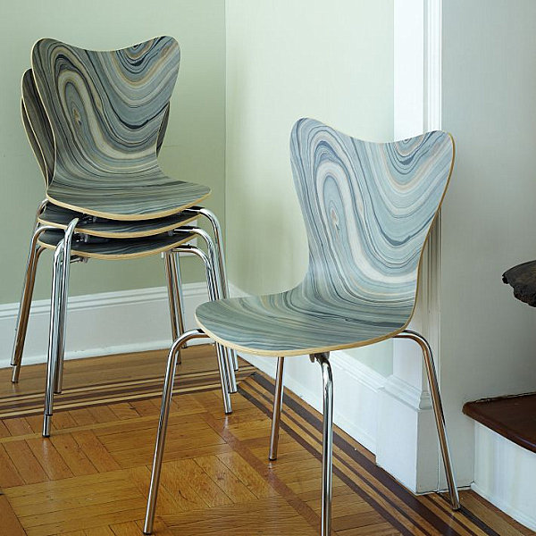 Marbleized chairs