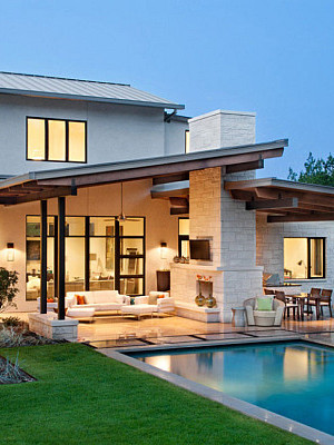 modern architecture and pool