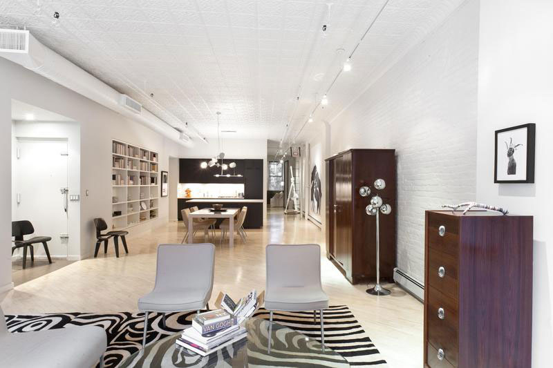 modern black and white apartment in soho