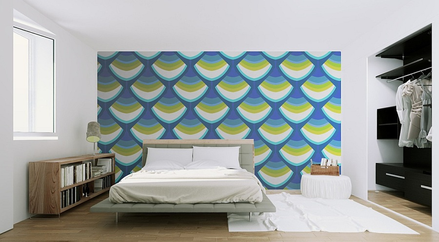 modern blue wall decal for bedroom