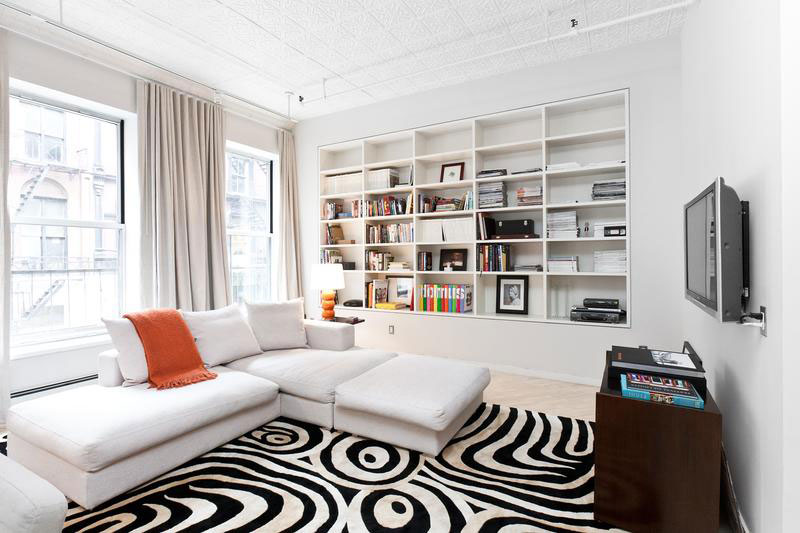 tribal rug in white painted apartment