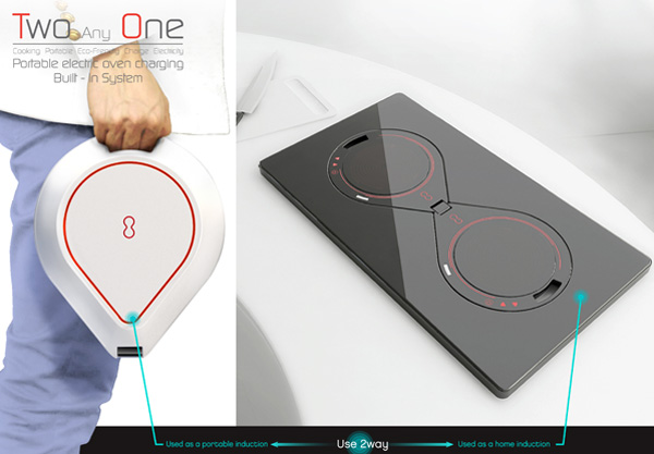 Two and One portable induction burner with internal battery