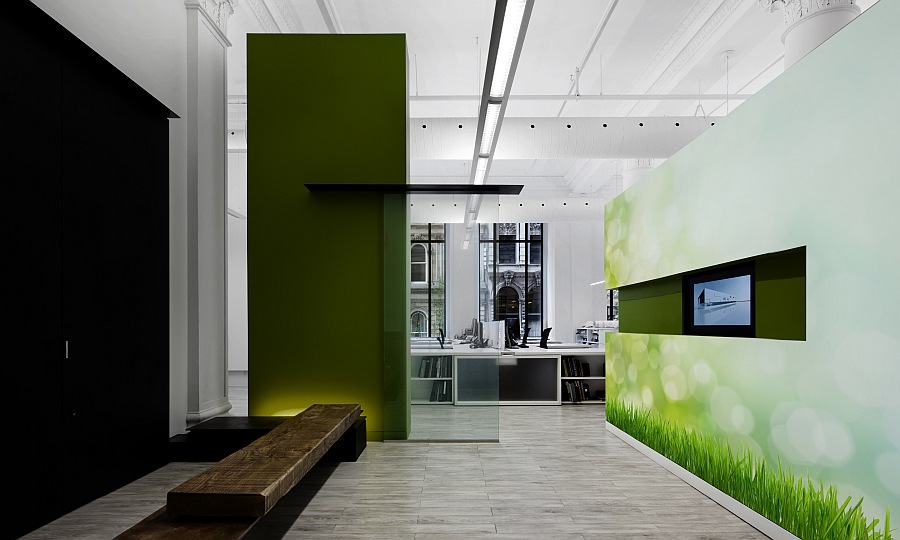 ultra modern office with grass wall murals