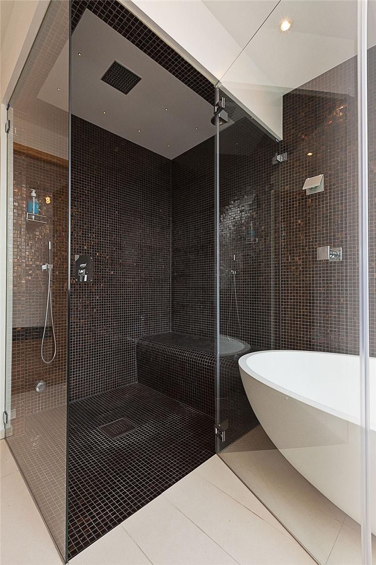 walk in shower and bath tub