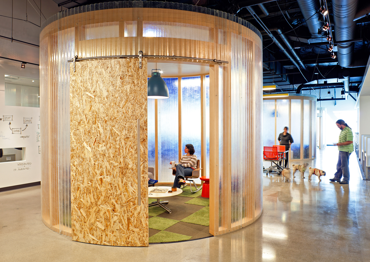 Translucent material provides privacy in this conference room