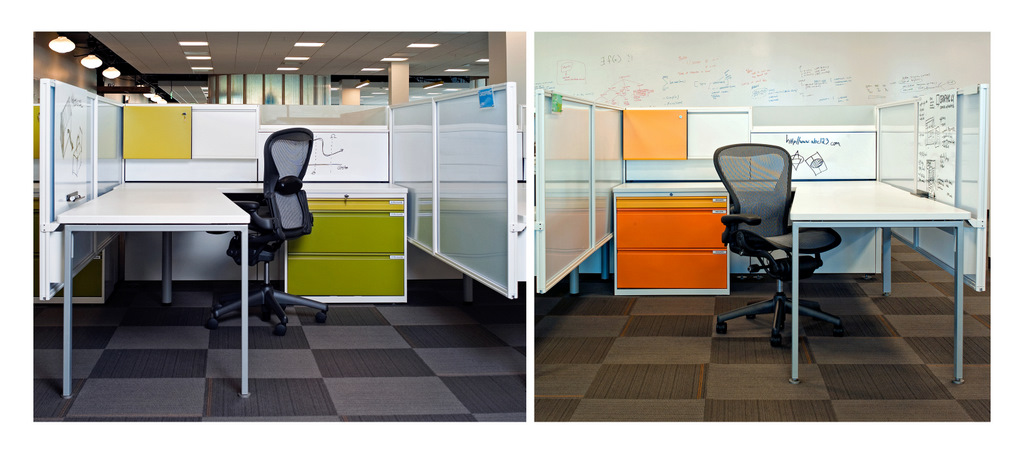 These cubes have plenty of whiteboard space with cabinets in bright accent colors