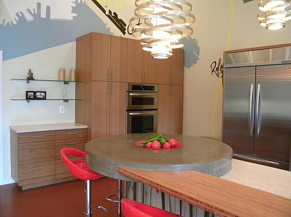 Abstract kitchen mural by Michael Owen