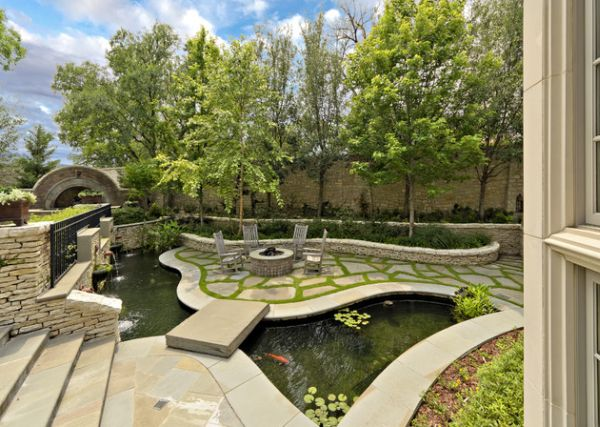 add unique design elements to make the koi pond more attractive - Koi Pond Designs Ideas