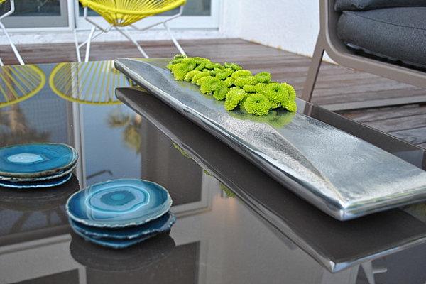 Agate coasters in a modern home