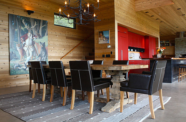 Animal-themed artwork in a rustic dining space