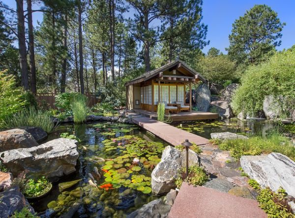 Asian-inspired landscape with an amazing natural koi pond