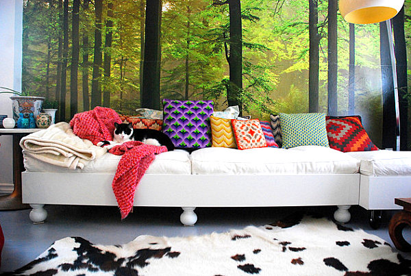 Assortment of colorful pillows in a vivid interior