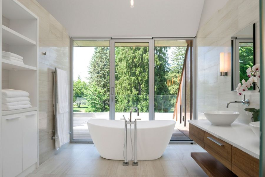 Bathroom with a view of the world outside