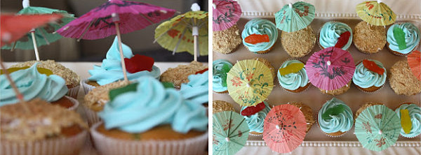 Beachy cupcakes at an end of summer party