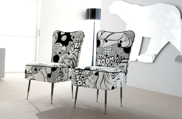 Black and white comic book upholstery for the chairs